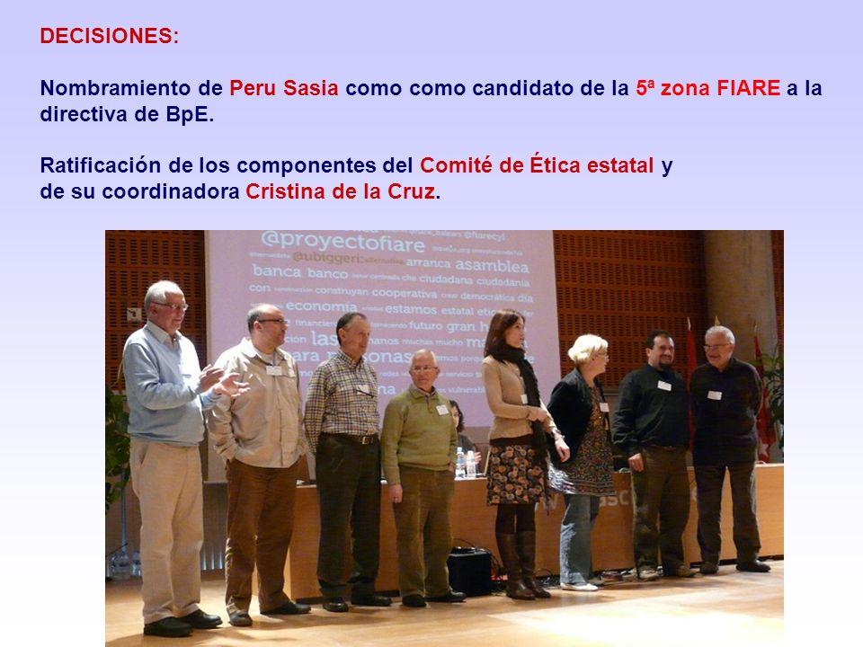 DECISIONES:Nombramiento de Peru Sasia como como candidato de la 5ª zona FIARE a la directiva de BpE.
