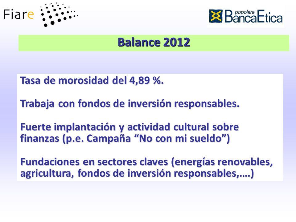 Balance 2012 Tasa de morosidad del 4,89 %.