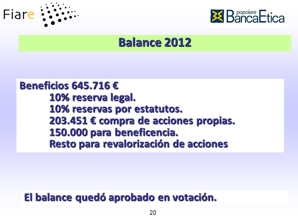 Balance 2012 Beneficios 645.716 € 10% reserva legal.
