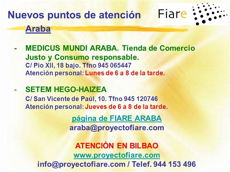 Nuevos puntos de atención info@proyectofiare.com / Telef. 944 153 496