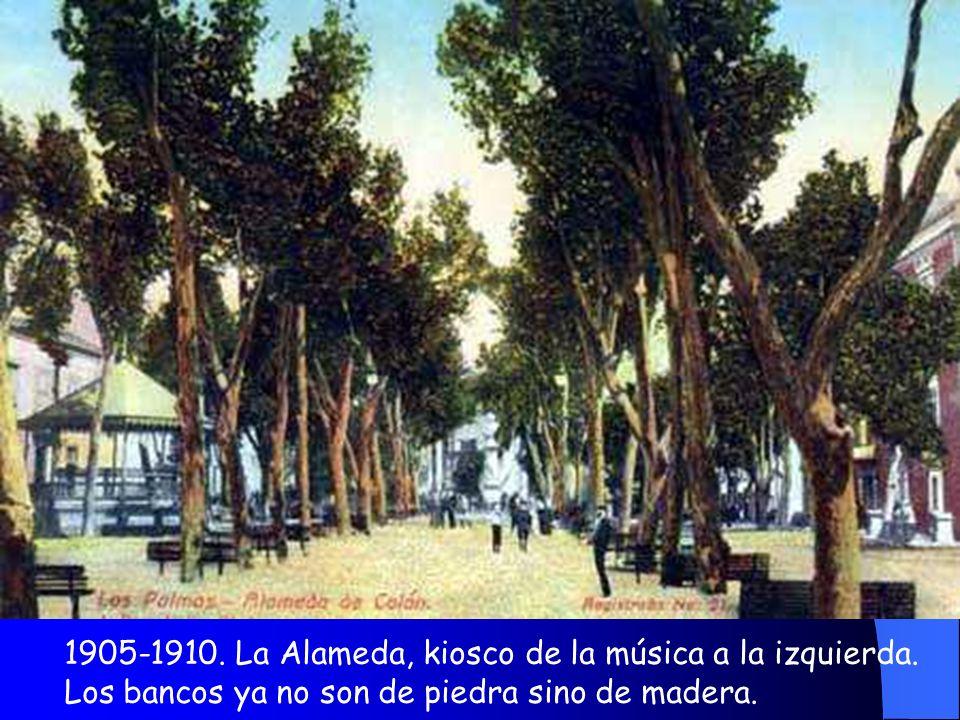 1905-1910. La Alameda, kiosco de la música a la izquierda.