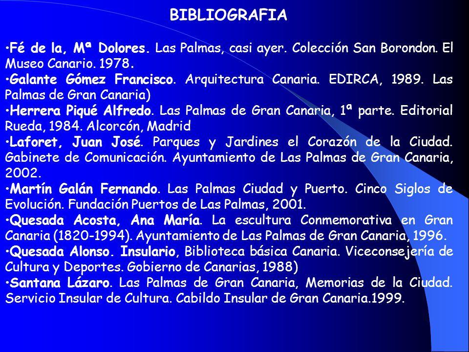 BIBLIOGRAFIA Fé de la, Mª Dolores. Las Palmas, casi ayer. Colección San Borondon. El Museo Canario. 1978.