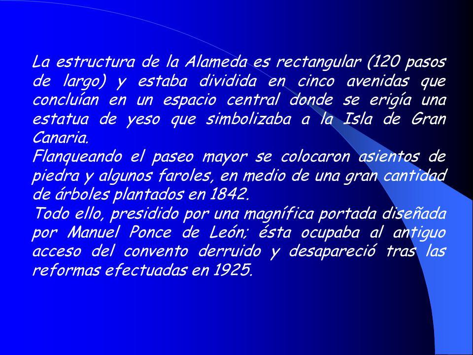 La estructura de la Alameda es rectangular (120 pasos de largo) y estaba dividida en cinco avenidas que concluían en un espacio central donde se erigía una estatua de yeso que simbolizaba a la Isla de Gran Canaria.