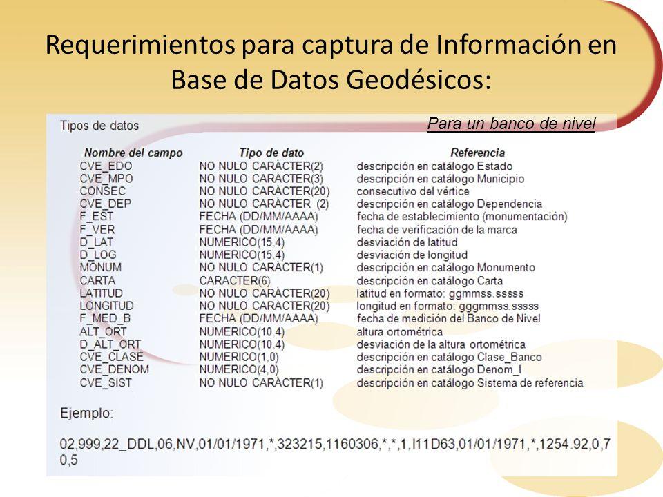 Requerimientos para captura de Información en Base de Datos Geodésicos: