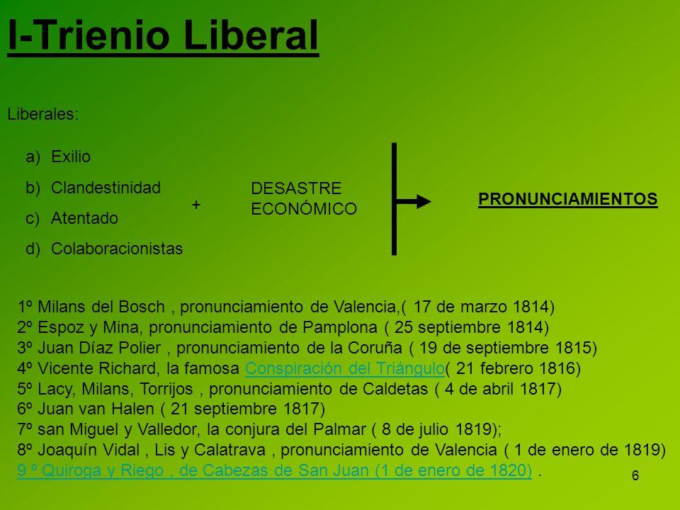 I-Trienio Liberal Liberales: Exilio Clandestinidad Atentado