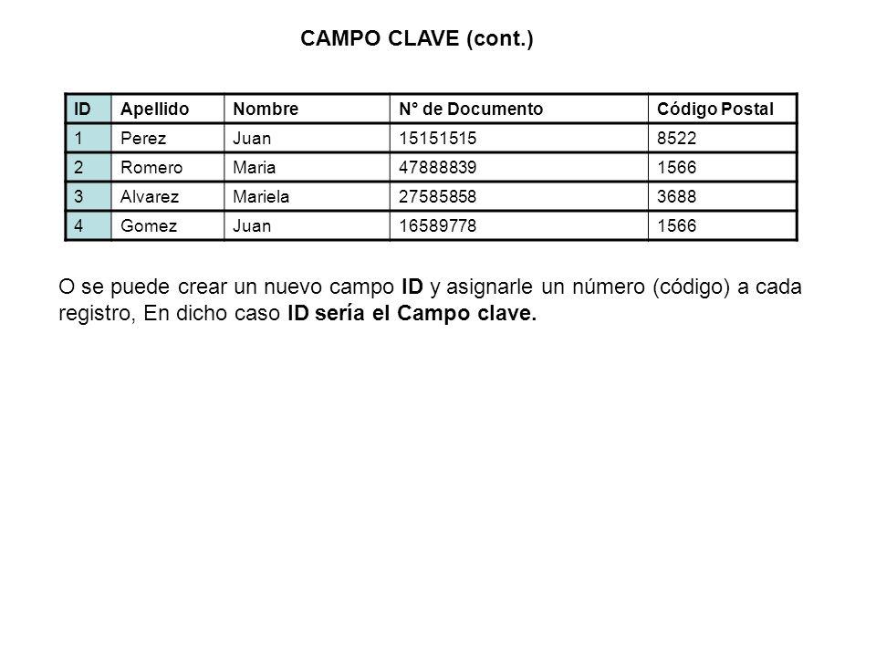 CAMPO CLAVE (cont.) ID. Apellido. Nombre. N° de Documento. Código Postal. 1. Perez. Juan. 15151515.