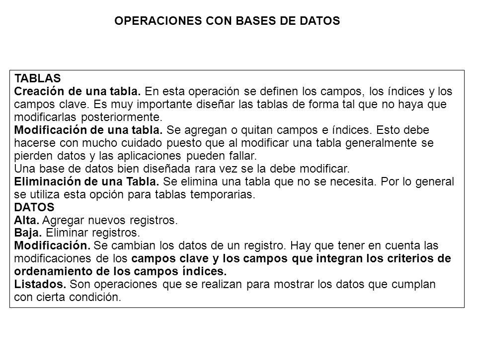 OPERACIONES CON BASES DE DATOS
