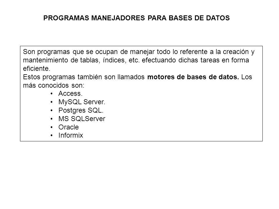 PROGRAMAS MANEJADORES PARA BASES DE DATOS