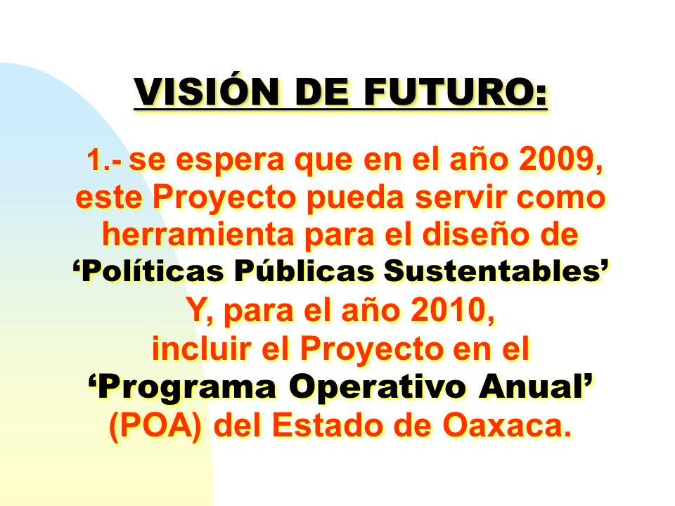 VISIÓN DE FUTURO: Y, para el año 2010, incluir el Proyecto en el