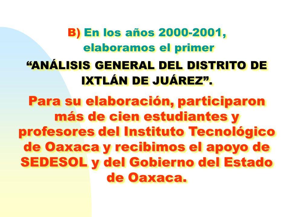 ANÁLISIS GENERAL DEL DISTRITO DE IXTLÁN DE JUÁREZ .