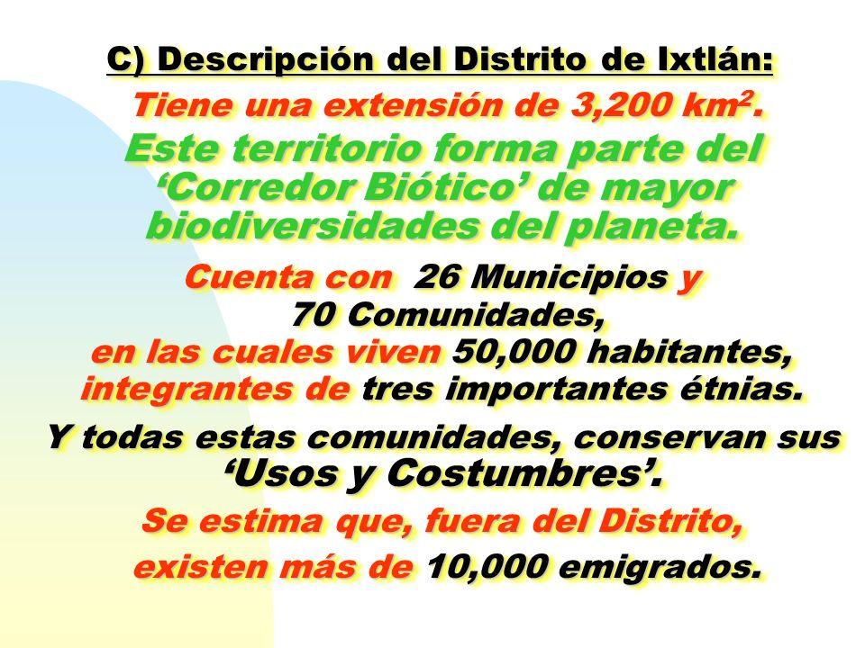 C) Descripción del Distrito de Ixtlán: