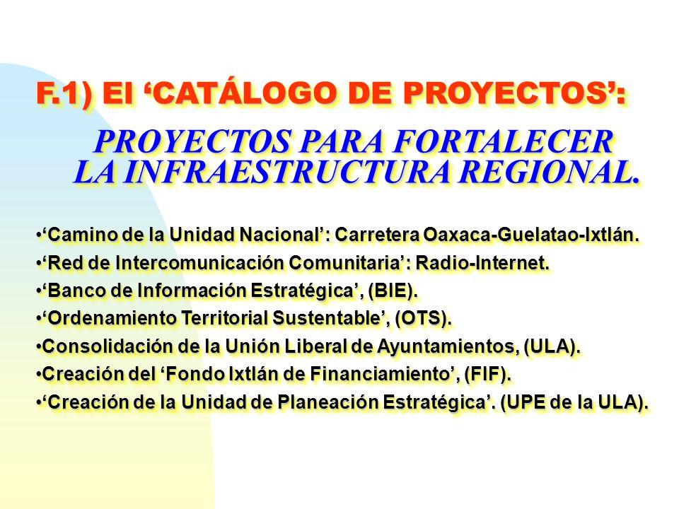 PROYECTOS PARA FORTALECER LA INFRAESTRUCTURA REGIONAL.