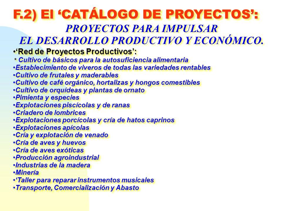 PROYECTOS PARA IMPULSAR EL DESARROLLO PRODUCTIVO Y ECONÓMICO.