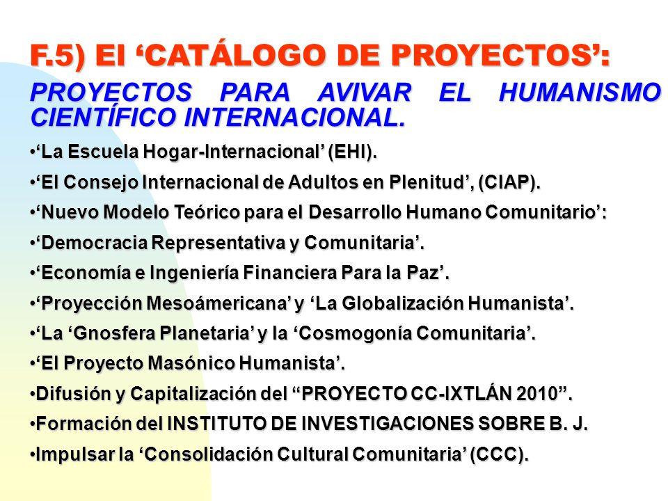 F.5) El 'CATÁLOGO DE PROYECTOS':