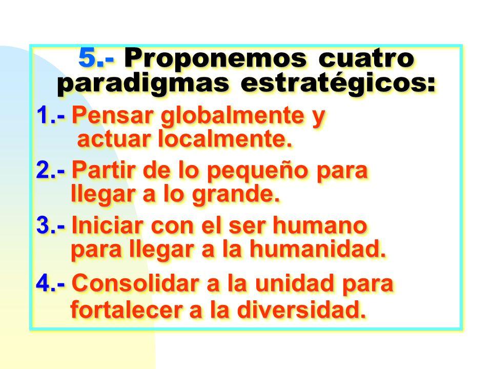 5.- Proponemos cuatro paradigmas estratégicos: