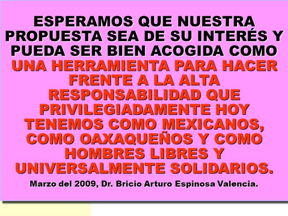Marzo del 2009, Dr. Bricio Arturo Espinosa Valencia.