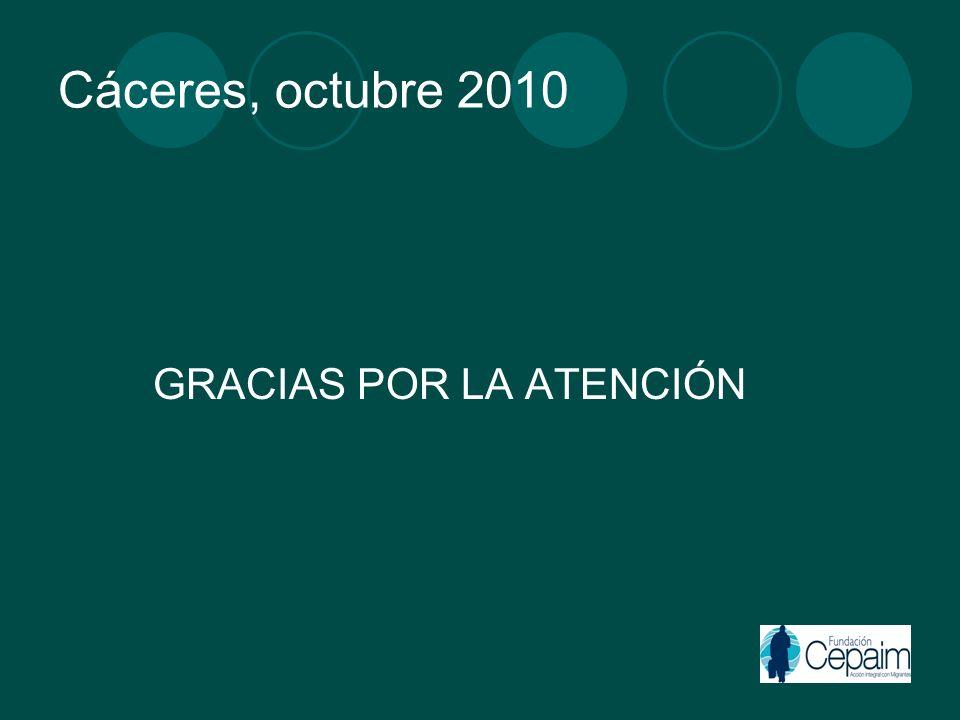 Cáceres, octubre 2010 GRACIAS POR LA ATENCIÓN