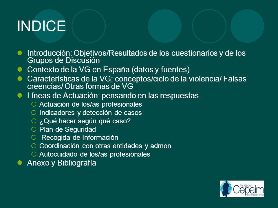INDICE Introducción: Objetivos/Resultados de los cuestionarios y de los Grupos de Discusión. Contexto de la VG en España (datos y fuentes)