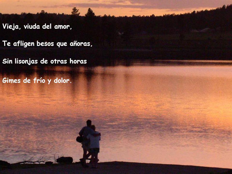 Vieja, viuda del amor, Te afligen besos que añoras, Sin lisonjas de otras horas.