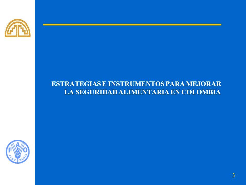 ESTRATEGIAS E INSTRUMENTOS PARA MEJORAR LA SEGURIDAD ALIMENTARIA EN COLOMBIA
