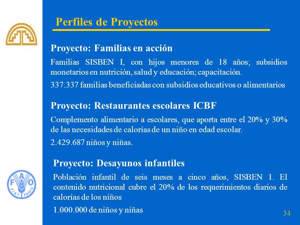 Perfiles de Proyectos Proyecto: Familias en acción