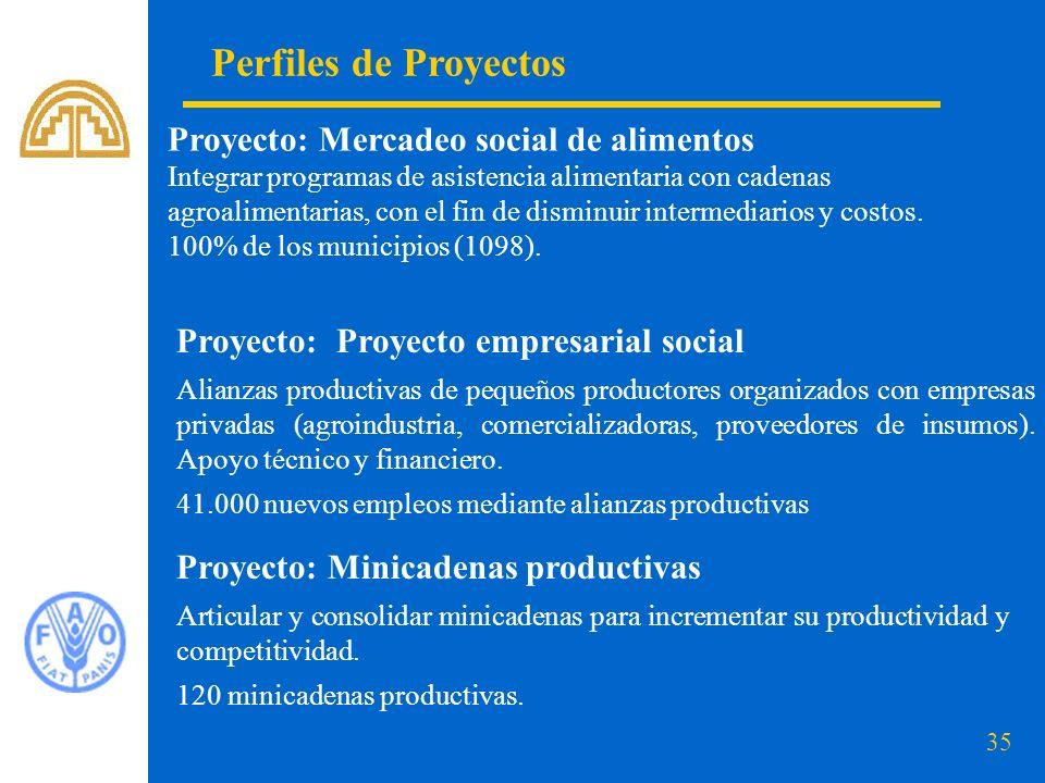 Perfiles de Proyectos Proyecto: Mercadeo social de alimentos