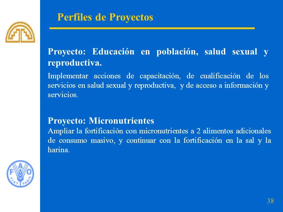Perfiles de Proyectos Proyecto: Educación en población, salud sexual y reproductiva.