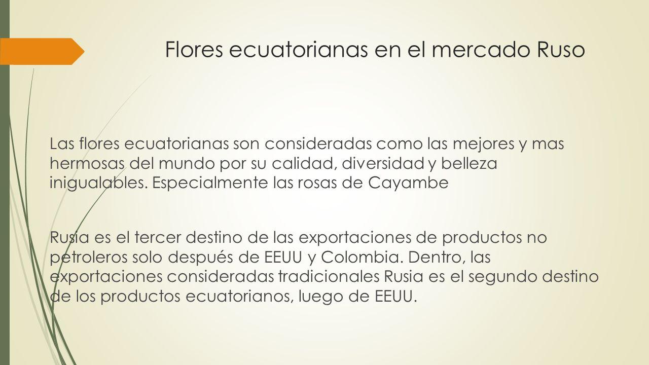 Flores ecuatorianas en el mercado Ruso