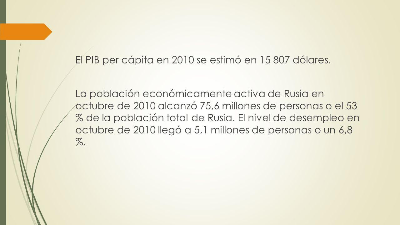 El PIB per cápita en 2010 se estimó en 15 807 dólares