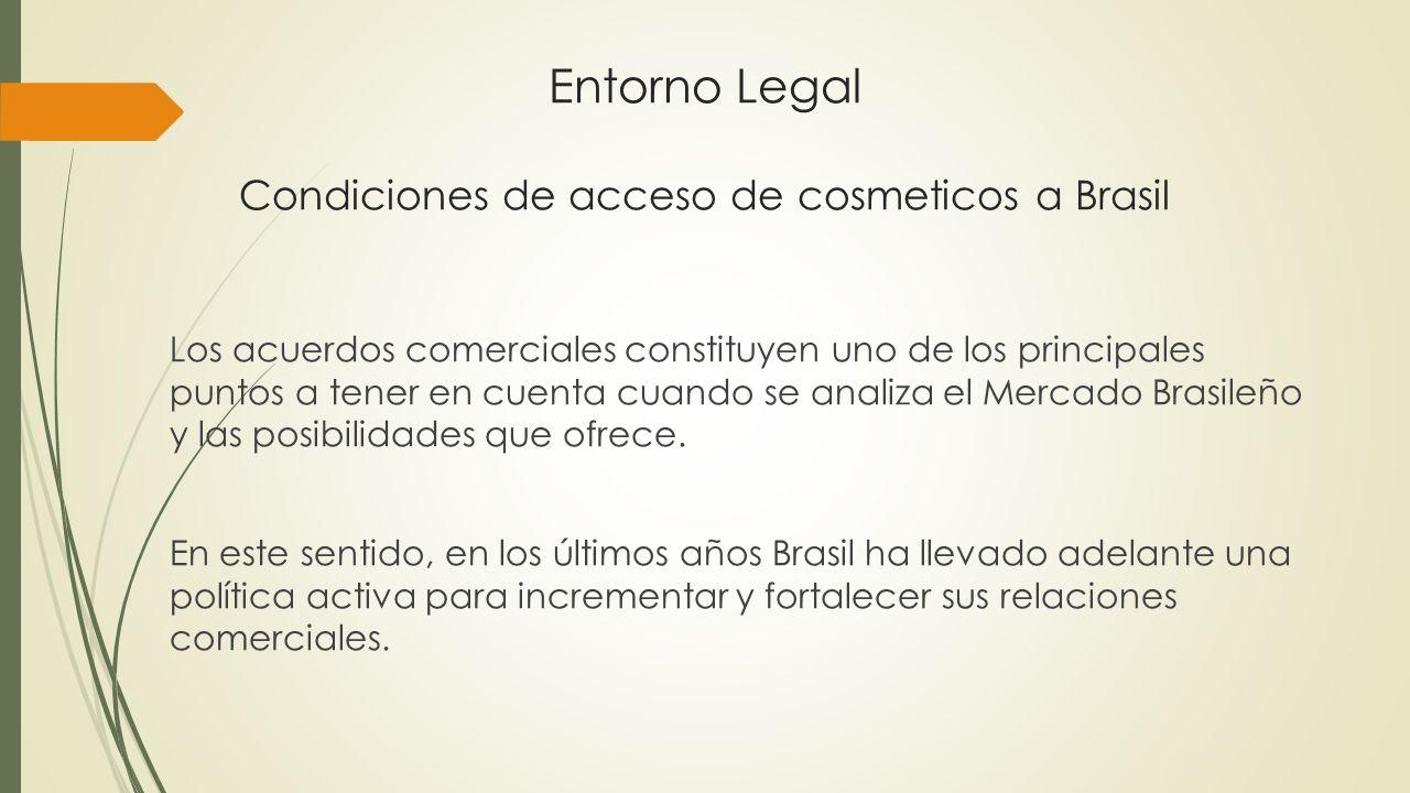 Entorno Legal Condiciones de acceso de cosmeticos a Brasil