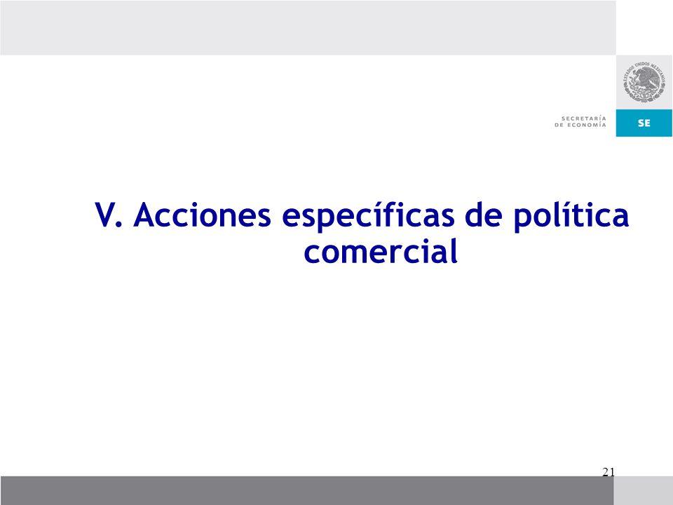 V. Acciones específicas de política comercial