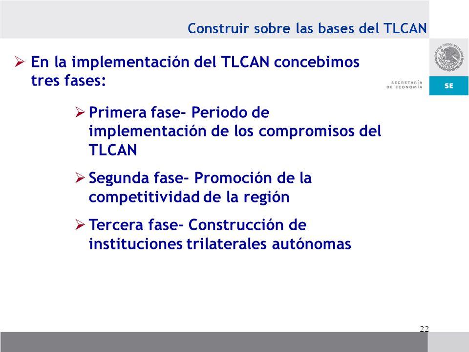 En la implementación del TLCAN concebimos tres fases: