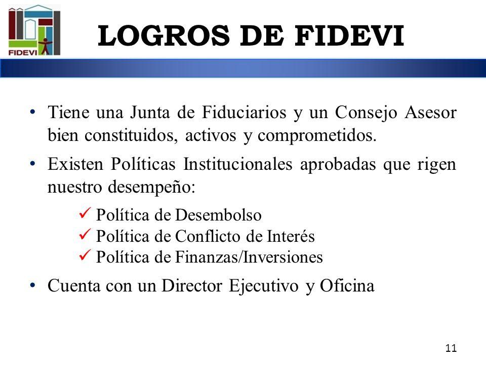 LOGROS DE FIDEVI Tiene una Junta de Fiduciarios y un Consejo Asesor bien constituidos, activos y comprometidos.