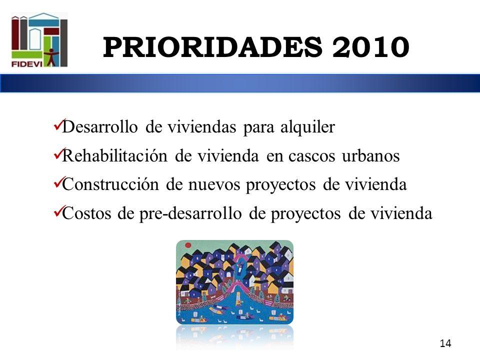 PRIORIDADES 2010 Desarrollo de viviendas para alquiler