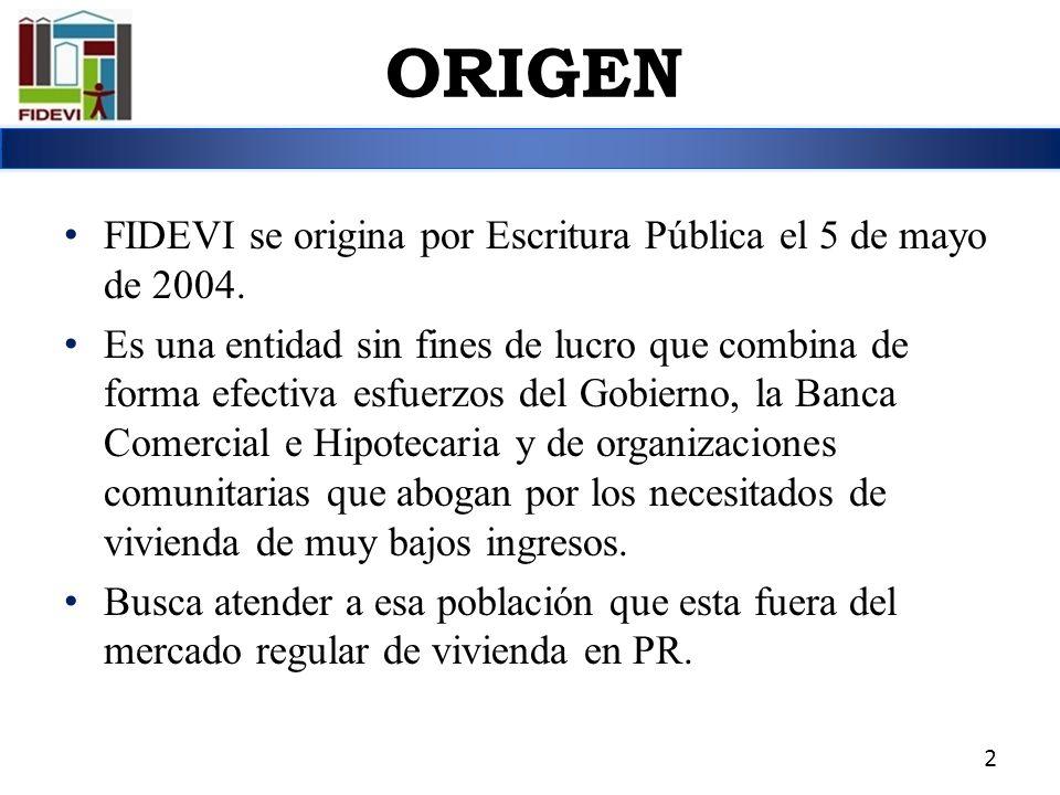 ORIGEN FIDEVI se origina por Escritura Pública el 5 de mayo de 2004.