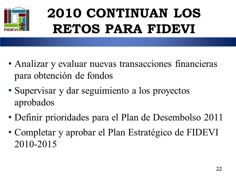 2010 CONTINUAN LOS RETOS PARA FIDEVI