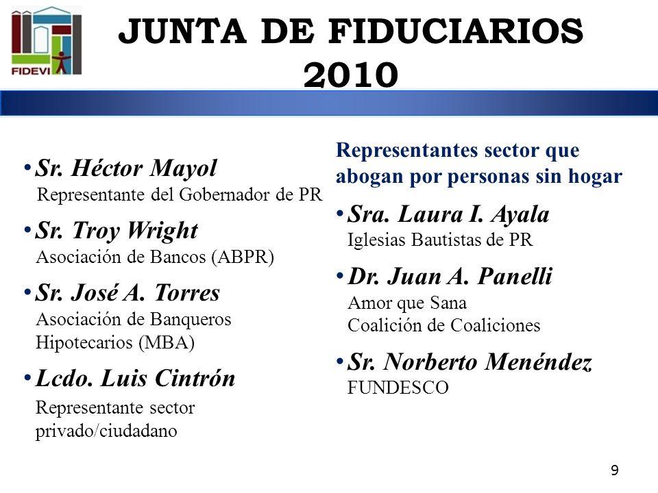 JUNTA DE FIDUCIARIOS 2010 Sr. Héctor Mayol Sra. Laura I. Ayala