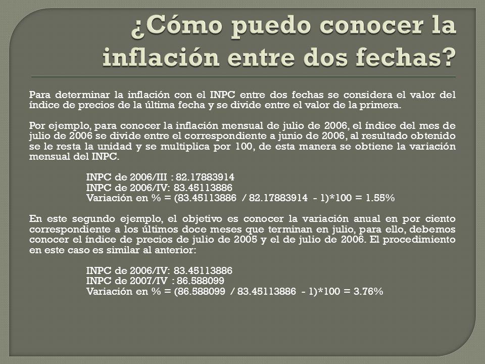 ¿Cómo puedo conocer la inflación entre dos fechas