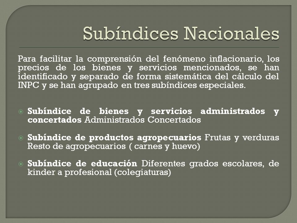 Subíndices Nacionales