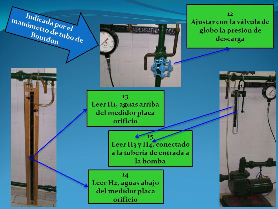 Indicada por el manómetro de tubo de Bourdon 12