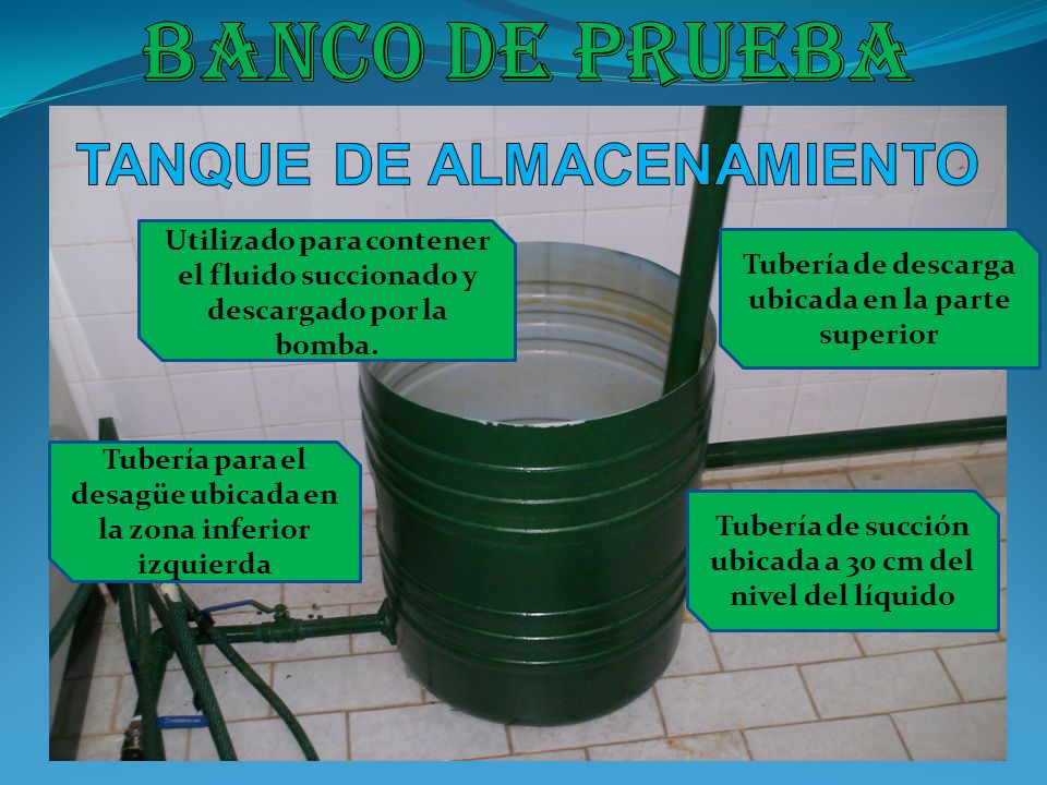 Banco de prueba TANQUE DE ALMACENAMIENTO