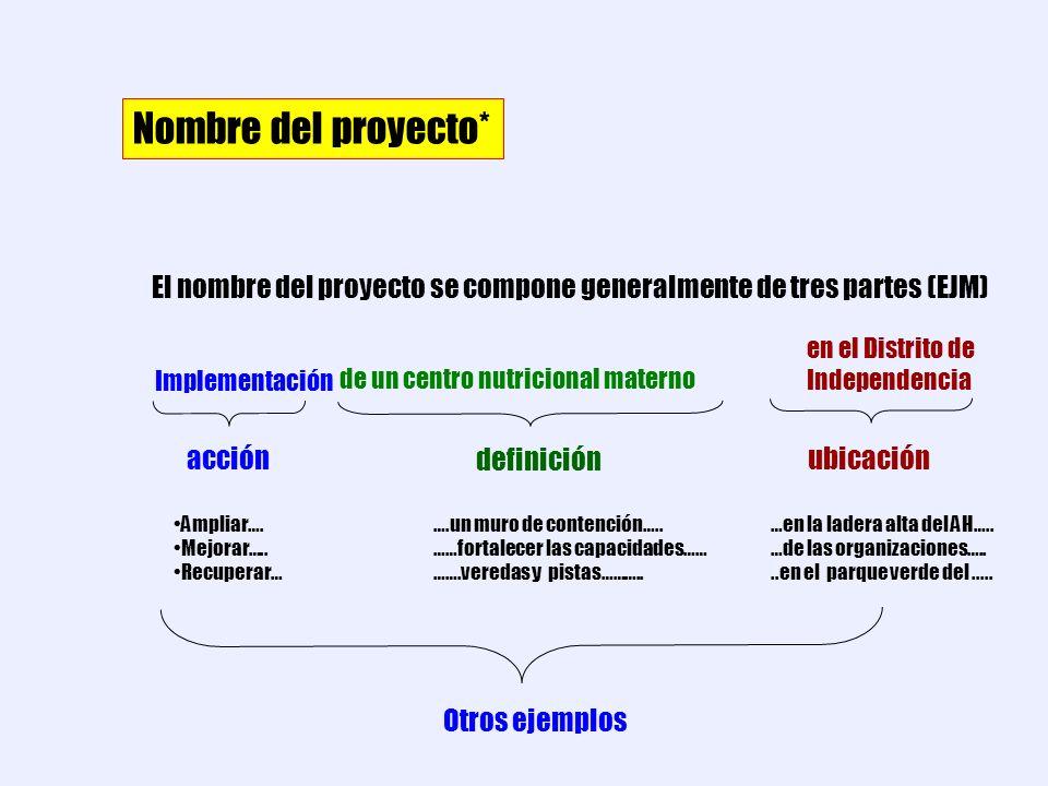 Nombre del proyecto* El nombre del proyecto se compone generalmente de tres partes (EJM) en el Distrito de Independencia.