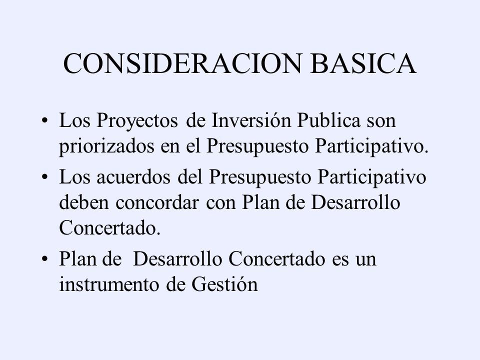 CONSIDERACION BASICA Los Proyectos de Inversión Publica son priorizados en el Presupuesto Participativo.