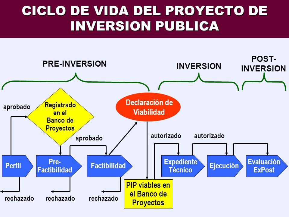 CICLO DE VIDA DEL PROYECTO DE INVERSION PUBLICA