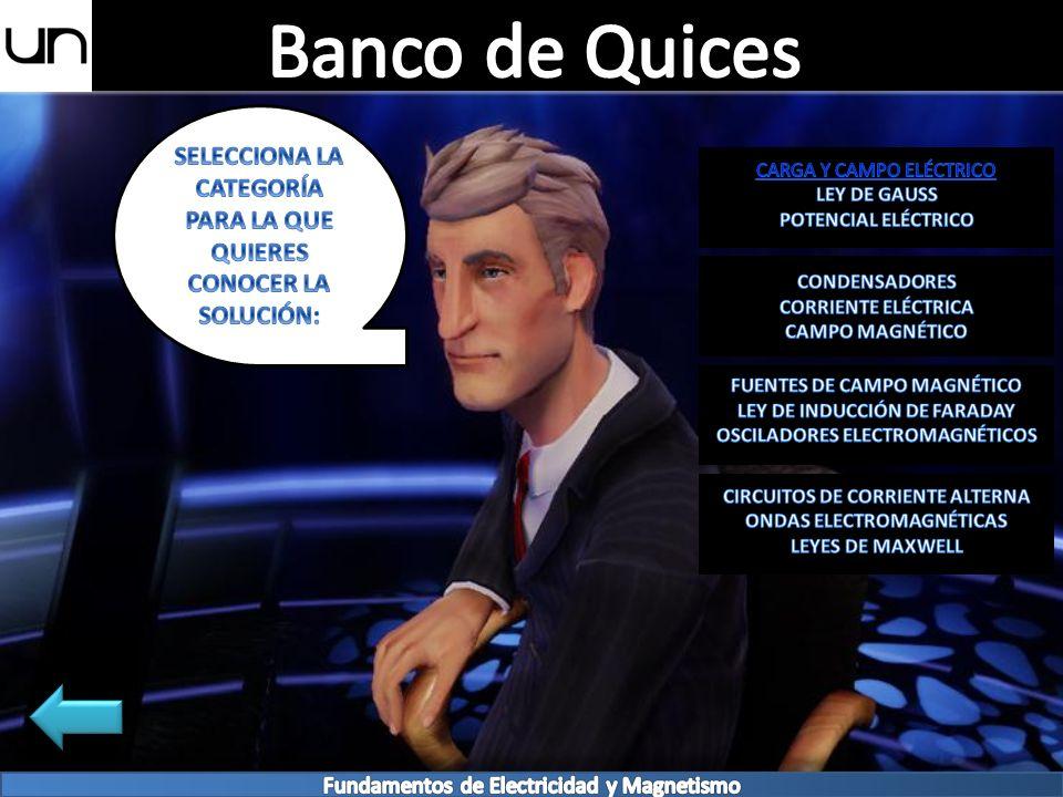 Banco de Quices SELECCIONA LA CATEGORÍA PARA LA QUE QUIERES CONOCER LA SOLUCIÓN: CARGA Y CAMPO ELÉCTRICO.