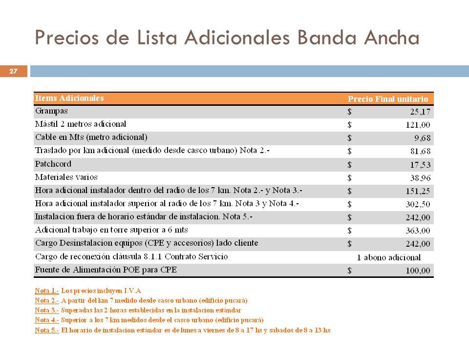 Precios de Lista Adicionales Banda Ancha