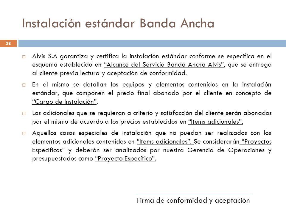 Instalación estándar Banda Ancha