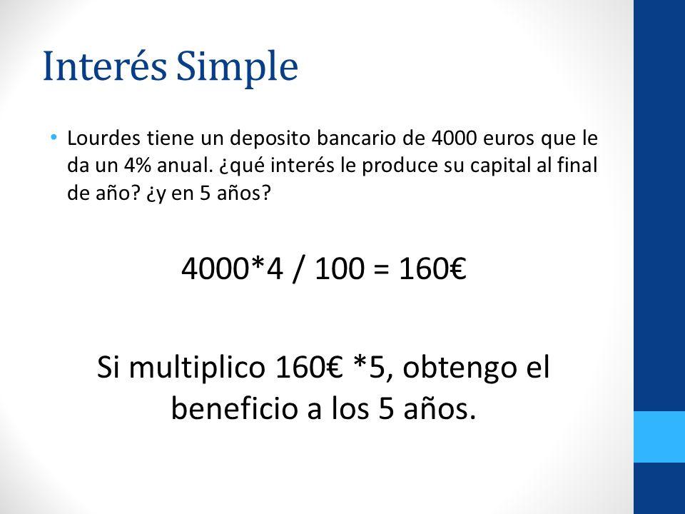 Si multiplico 160€ *5, obtengo el beneficio a los 5 años.