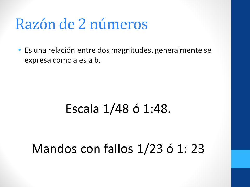 Razón de 2 números Escala 1/48 ó 1:48. Mandos con fallos 1/23 ó 1: 23