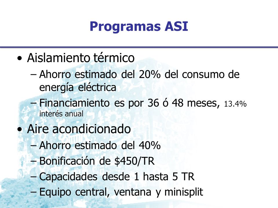 Programas ASI Aislamiento térmico Aire acondicionado
